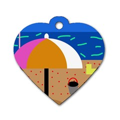 On the beach  Dog Tag Heart (One Side)