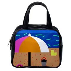 On the beach  Classic Handbags (One Side)