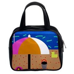 On the beach  Classic Handbags (2 Sides)