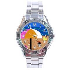 On the beach  Stainless Steel Analogue Watch