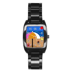 On the beach  Stainless Steel Barrel Watch