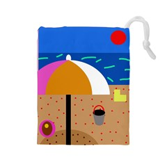 On the beach  Drawstring Pouches (Large)