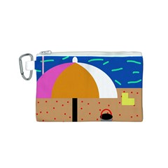On the beach  Canvas Cosmetic Bag (S)