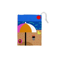 On the beach  Drawstring Pouches (XS)