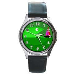 Green monster fish Round Metal Watch