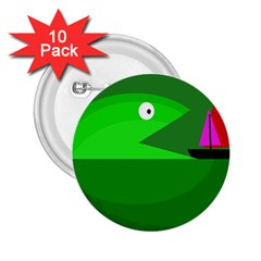 Green monster fish 2.25  Buttons (10 pack)