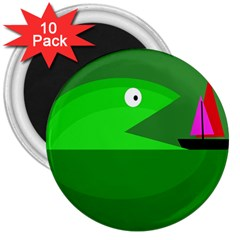 Green monster fish 3  Magnets (10 pack)