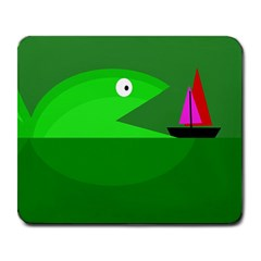 Green monster fish Large Mousepads
