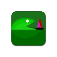 Green monster fish Rubber Square Coaster (4 pack)