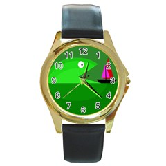 Green monster fish Round Gold Metal Watch
