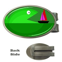 Green monster fish Money Clips (Oval)