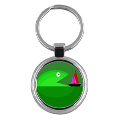 Green monster fish Key Chains (Round)