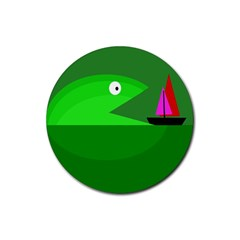 Green monster fish Rubber Coaster (Round)