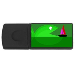 Green monster fish USB Flash Drive Rectangular (2 GB)