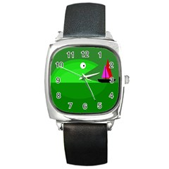 Green monster fish Square Metal Watch