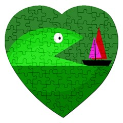 Green monster fish Jigsaw Puzzle (Heart)
