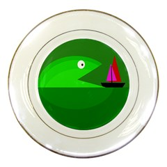 Green monster fish Porcelain Plates