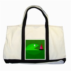 Green monster fish Two Tone Tote Bag