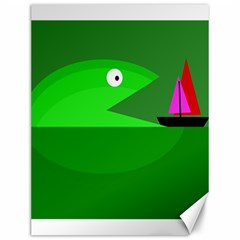 Green monster fish Canvas 12  x 16
