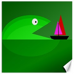 Green monster fish Canvas 16  x 16