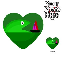 Green monster fish Multi-purpose Cards (Heart)
