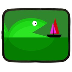 Green monster fish Netbook Case (XXL)