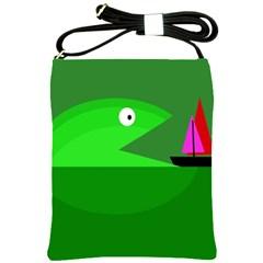 Green monster fish Shoulder Sling Bags