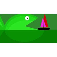 Green monster fish YOU ARE INVITED 3D Greeting Card (8x4)