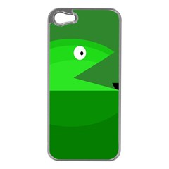 Green monster fish Apple iPhone 5 Case (Silver)