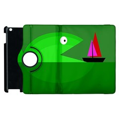 Green monster fish Apple iPad 2 Flip 360 Case