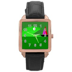 Green monster fish Rose Gold Leather Watch