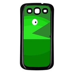 Green monster fish Samsung Galaxy S3 Back Case (Black)