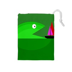 Green monster fish Drawstring Pouches (Medium)