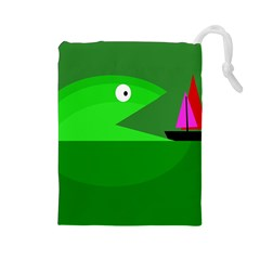 Green monster fish Drawstring Pouches (Large)