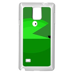 Green monster fish Samsung Galaxy Note 4 Case (White)