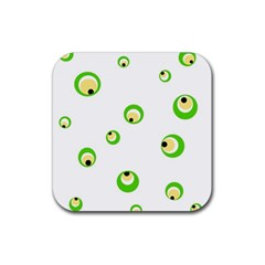 Green eyes Rubber Square Coaster (4 pack)
