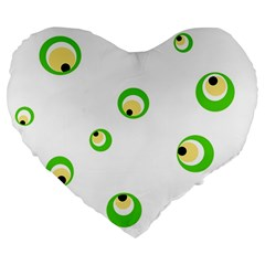 Green eyes Large 19  Premium Heart Shape Cushions