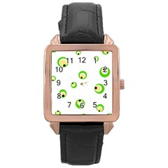 Green eyes Rose Gold Leather Watch