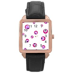 Purple eyes Rose Gold Leather Watch