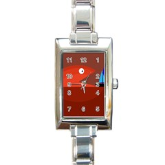 Red monster fish Rectangle Italian Charm Watch