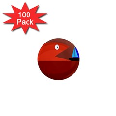 Red monster fish 1  Mini Magnets (100 pack)