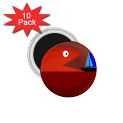 Red monster fish 1.75  Magnets (10 pack)