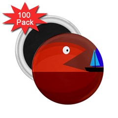 Red monster fish 2.25  Magnets (100 pack)