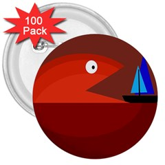 Red monster fish 3  Buttons (100 pack)