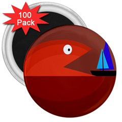 Red monster fish 3  Magnets (100 pack)