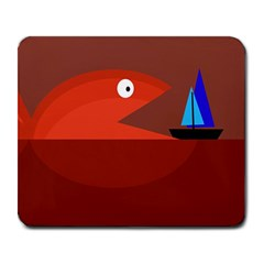 Red monster fish Large Mousepads