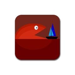 Red monster fish Rubber Coaster (Square)