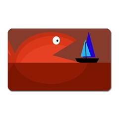 Red monster fish Magnet (Rectangular)