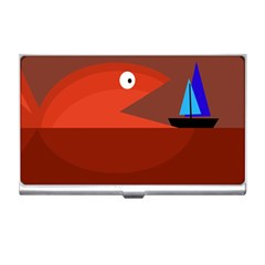 Red monster fish Business Card Holders