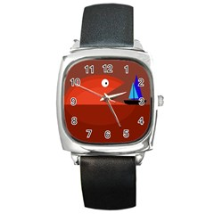 Red monster fish Square Metal Watch